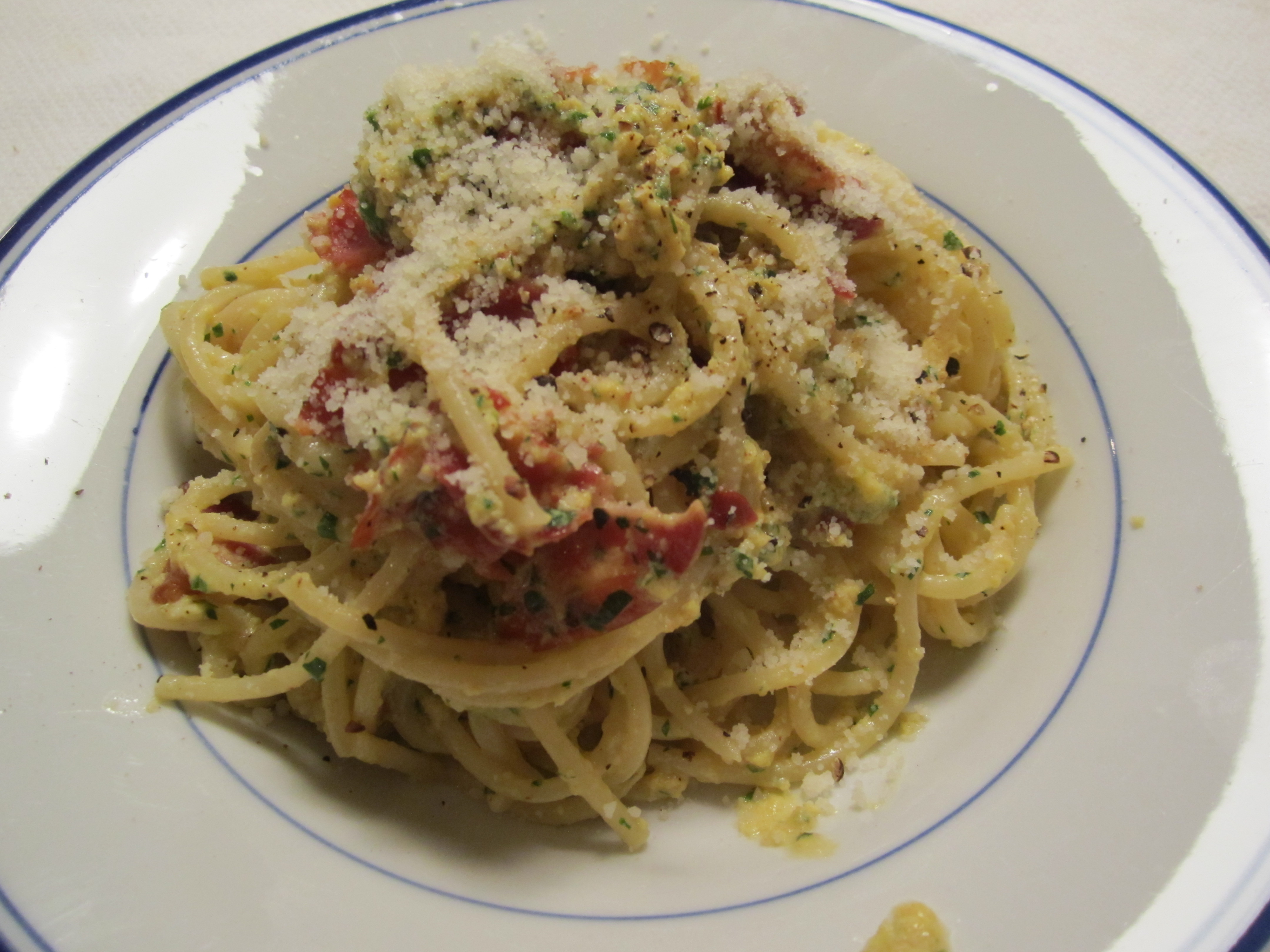 ... to make one of my favorite late-night dishes– pasta alla carbonara
