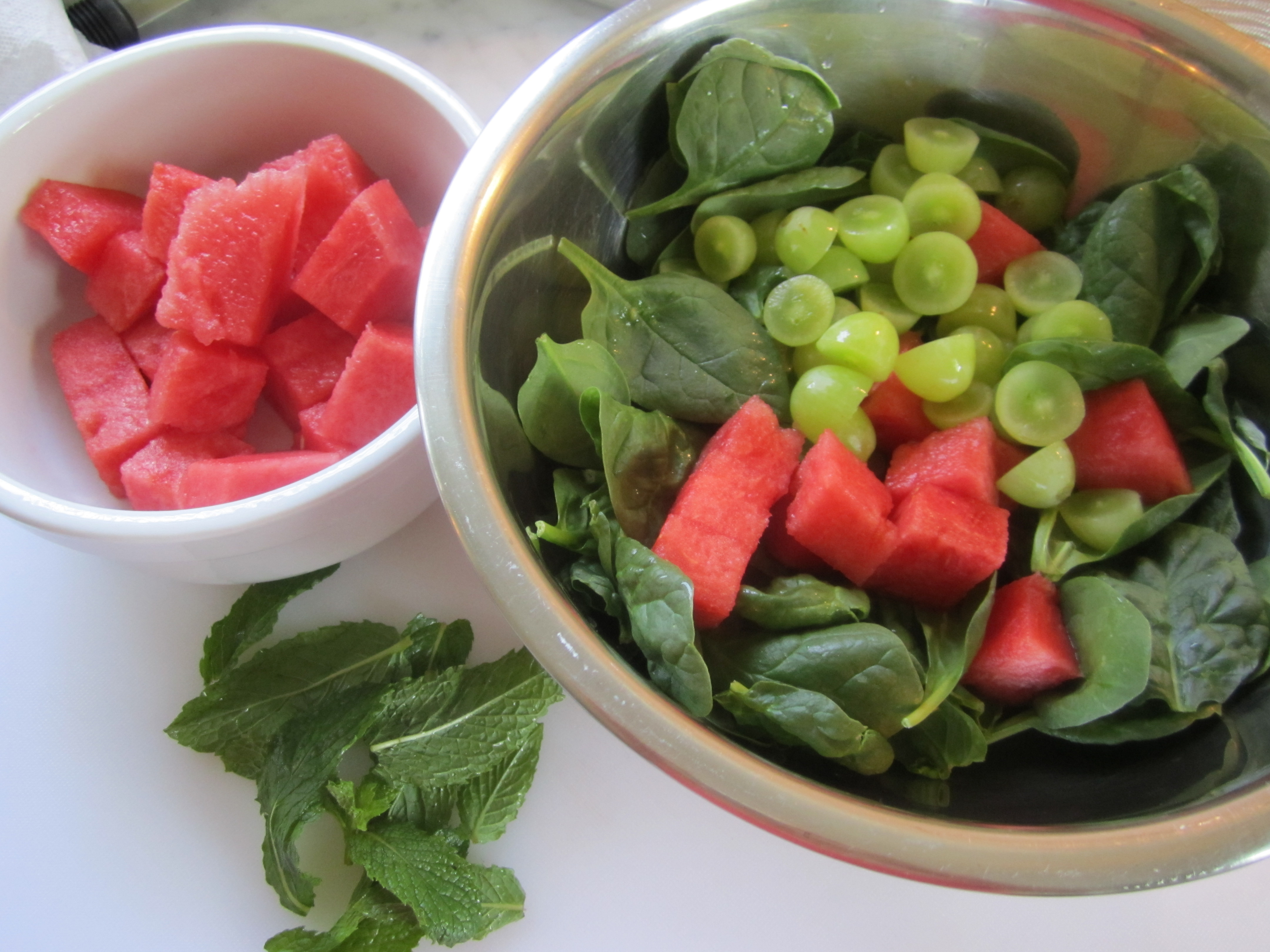 Watermelon, Spinach and Feta Salad with Mint Vinaigrette ...