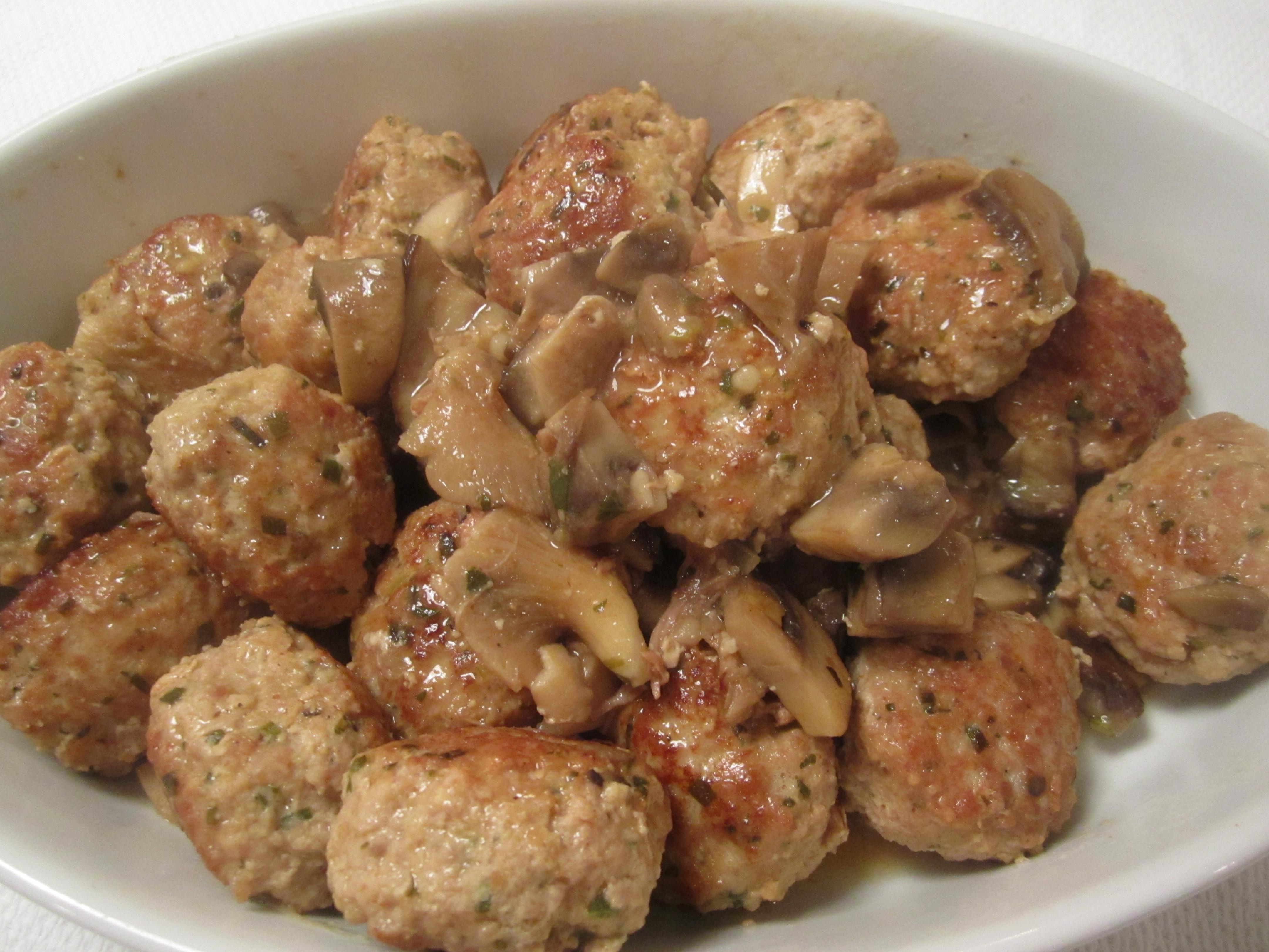 Veal Meatballs in Mushroom Sauce italianatedotcom