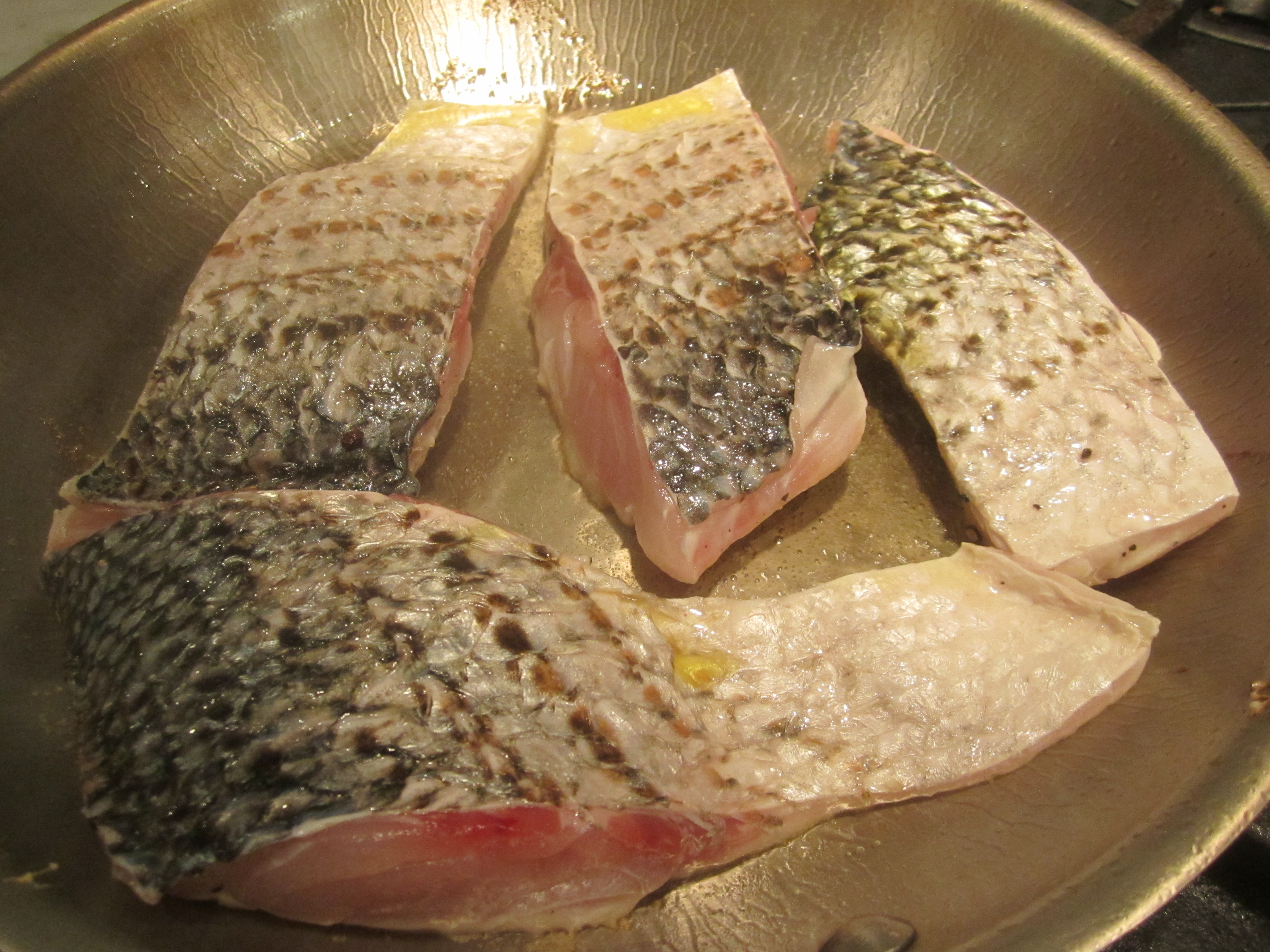 Sear For About 3 Minutes On High Heat, Then, Without Turning The Fish,  Place Skillet In Preheated 450 Degree Oven For About 10 Minutes (depending  On The